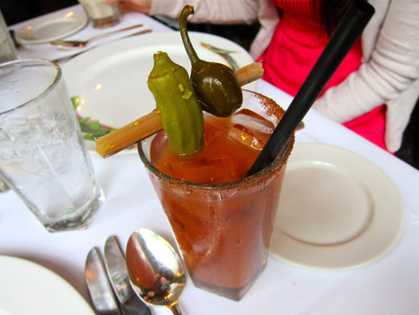 Spicy Bloody Mary with pickled okra and cherry pepper