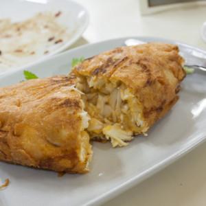 Crab omelet innards