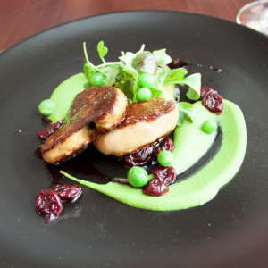 Duck liver, cinnamon, pea, acidified sour cherry